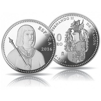 König Ferdinand II., 10 Euro Silbermünze, Spanien