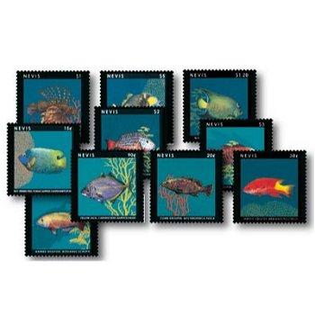 Fische - 10 Briefmarken postfrisch, Nevis