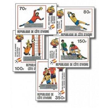 Gewinner der Fußball-Weltmeisterschaft 1982, Spanien - 5 Briefmarken ungezähnt postfrisch, Katalog-N