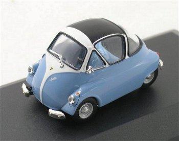 Modellauto:Iso Isetta von 1954, hellblau-weiß(WhiteBox, 1:43)