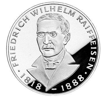 """5-DM-Silbermünze """"150. Geburtstag Friedrich Wilhelm Raiffeisen"""", Polierte Platte"""