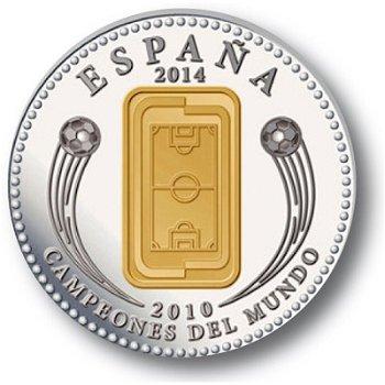 10 Euro Silbermünze, Fußball Spielfeld und Pokal. Spanien