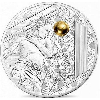 Fußball EM in Frankreich/Kopfball, 10 Euro Silbermünze mit Goldauflage, Frankreich