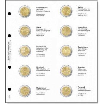 Lindner Vordruckblatt inkl. Münzblatt für 2 Euro-Gedenkmünzen chronologisch: Griechenland 2013 bis P