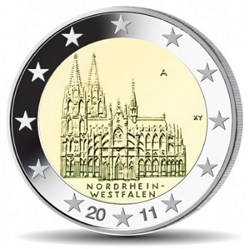 2 Euro Münze 2011, Kölner Dom / Nordrhein-Westfalen, Deutschland, 1 Prägezeichen