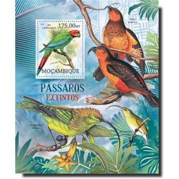 Ausgestorbene Vogelarten – Briefmarken-Block postfrisch, Mocambique