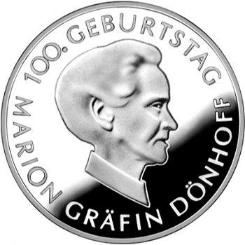 100. Geburtstag Gräfin Dönhoff, 10-Euro-Silbermünze 2009, Polierte Platte