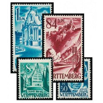 Die zweite Serie - 14 Briefmarken postfrisch, Katalog-Nr. 14-27, Französische Zone Württemberg-Hohen