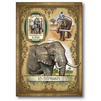 Elefanten - Briefmarken-Block postfrisch, Tschad