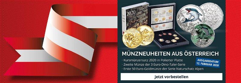 Neuheiten aus Österreich, Goldmünze, 3 Euro Münze, Kursmünzensatz