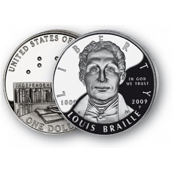 Louis Braille - Silberdollar 2009, 1 Dollar Silbermünze, USA