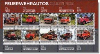 Feuerwehrautos - Kollektionsbogen gestempelt, Liechtenstein