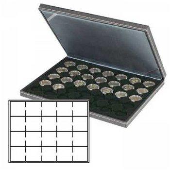 Münzkassette NERA M mit schwarzer Münzeinlage für 20 Münzrähmchen 50x50 , Lindner 2364-2122CE