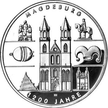 1200 Jahre Magdeburg, 10-Euro-Silbermünze 2005, Polierte Platte
