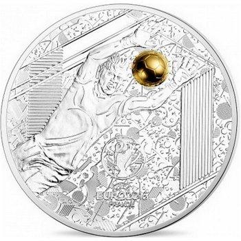 Fußball EM in Frankreich/Torwart, 10 Euro Silbermünze mit Goldauflage, Frankreich