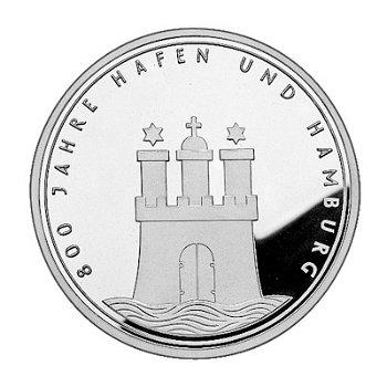"10-DM-Silbermünze ""Hamburger Hafen"", Stempelglanz"