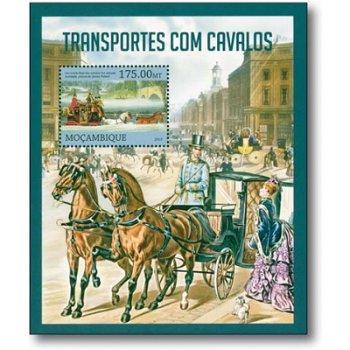 Historische Pferdekutschen - Briefmarken-Block postfrisch, Mocambique