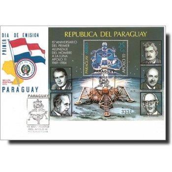 Weltraum: 15. Jahrestag der Landung von Apollo 11 - Ersttagsbrief, Block 406, Paraguay