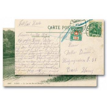 Deutsche Feldpost mit Schweizer Nachporto - Postkarte, Katalog-Nr. 33, Frankreich