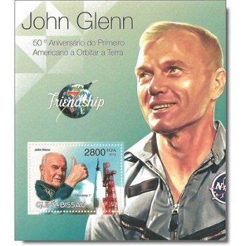John Glenn: 50 Jahre 1. Erdumkreisung eines Amerikaners - Briefmarken-Block postfrisch, Guinea-Bissa