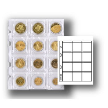 Multi collect-Münzblätter für 12 Münzen, mit schwarzen Zwischenblätter, 5er-Pack, Lindner MU12