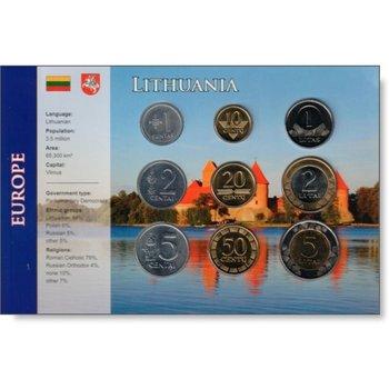 Kursmünzensatz Litauen, vor Euro-Einführung, bankfrisch im Blister