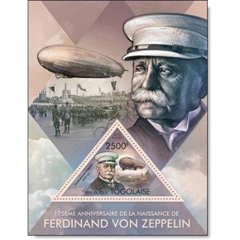 Ferdinand von Zeppelin - Briefmarkenblock postfrisch, Togo