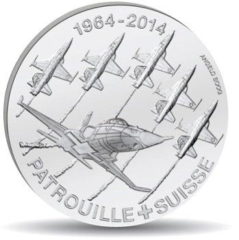 Kunstflugstaffel, 20 Franken Münze 2014 Schweiz, Polierter Platte