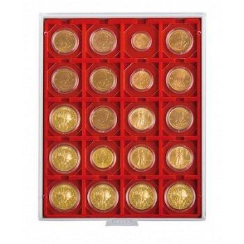 LINDNER Münzenbox, quadratische Vertiefungen 50mm, LI 2122, Standard