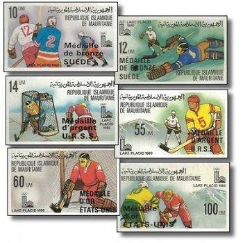 """Olympischen Winterspielen 1980, Lake Placid """"Aufdruck""""- 6 Briefmarken ungezähnt postfrisch"""