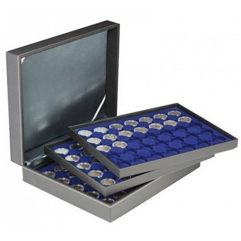 Nera Münzkassette XL mit 3 Tableaus für 2 Euro Münzen gekapselt, Münzeinlage blau, Lindner 2365-2530