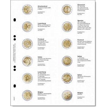 Lindner Vordruckblatt für 2 Euro-Gedenkmünzen: Griechenland 2004 - Belgien 2006, LI MU2E1