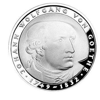 """5-DM-Münze """"150. Todestag Johann Wolfgang von Goethe"""", Stempelglanz"""