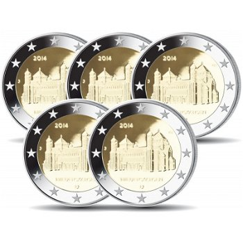 2 Euro Münze 2014, Michaeliskirche / Niedersachsen, Deutschland, alle Prägezeichen