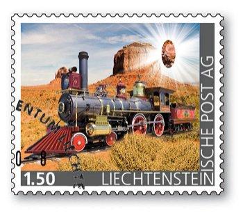 Edelsteine der Philatelie: RHODONIT-Briefmarke gestempelt, Liechtenstein