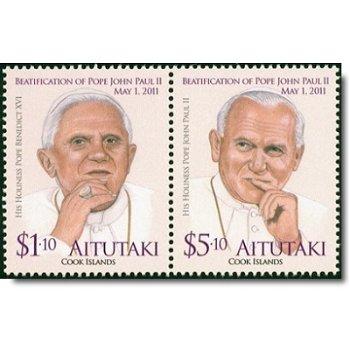 Seligsprechung Papst Johannes Paul II. und Papst Benedikt XVI. - 2 Briefmarken postfrisch, Aitutaki