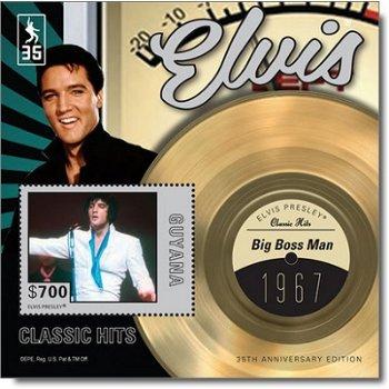"""Elvis Presley """"Big Boss Man"""" - Briefmarken-Block postfrisch, Guyana"""