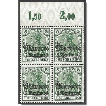 Deutsche Post in Morocco, block of four mint never hinged, catalog no. 35