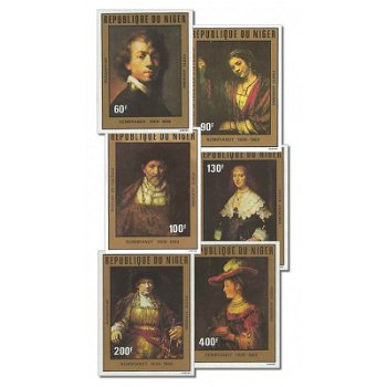 375. Geburtstag von Rembrandt - 6 Briefmarken ungezähnt postfrisch, Katalog-Nr. 730-735, Niger