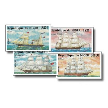 Segelschiffe - 4 Briefmarken ungezähnt postfrisch, Katalog-Nr. 888-891, Niger