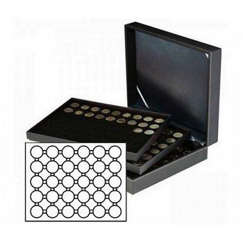 Münzkassette NERA XL mit 3 Tableaus, schwarze Münzeinlagen für 90 Münzkapseln Außen-Ø 39,5 mm, für 2