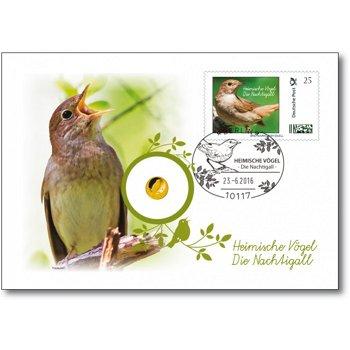 Heimische Vögel: Nachtigall, Numisbrief mit 20 Euro Goldmünze, Deutschland