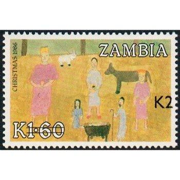 Weihnachten 1986 - Briefmarke mit lokalem Aufdruck, Katalog-Nr. 572, Sambia