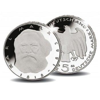 100. Todestag Karl Marx, 5 DM Münze 1983, Stempelglanz, Deutschland