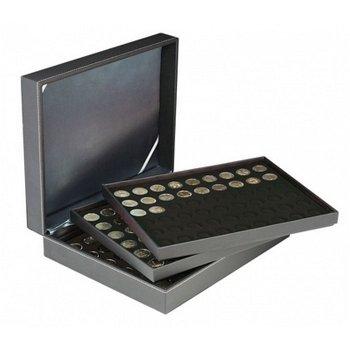 Nera Münzkassette XL mit 3 Tableaus für 2 Euro Münzen, Münzeinlage schwarz, Lindner 2365- 2154CE