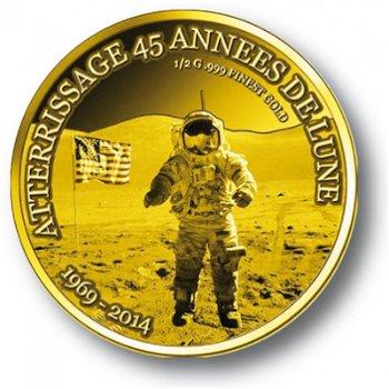Buzz Aldrin, Goldmünze Togo, Polierte Platte