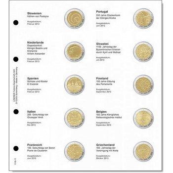 Lindner Vordruckblatt inkl. Münzblatt für 2 Euro-Gedenkmünzen chronologisch: Slowenien 2013 - Griech