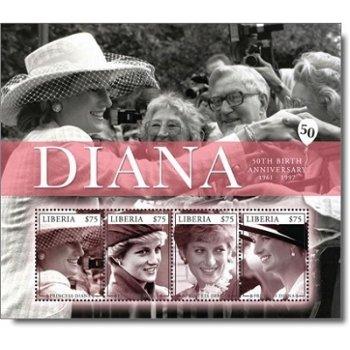 50. Geburtstag von Prinzessin Diana - Briefmarken-Block postfrisch, Katalog-Nr. 5975-5978, Liberia