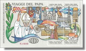 Besuch von Papst Johannes Paul II. in Österreich - Vignetten-Block, Italien