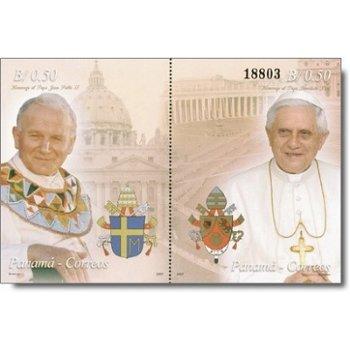 Papst Johannes Paul II. und Papst Benedikt XVI. - Briefmarken-Block, Panama